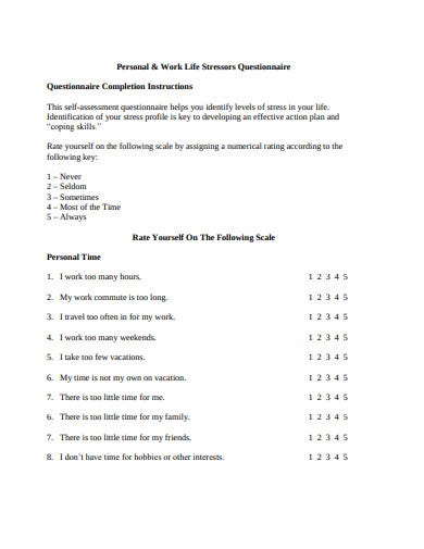 8+ Stress Assessment Questionnaire Templates in PDF | Free