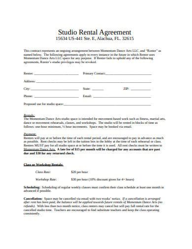 basic studio rental agreement