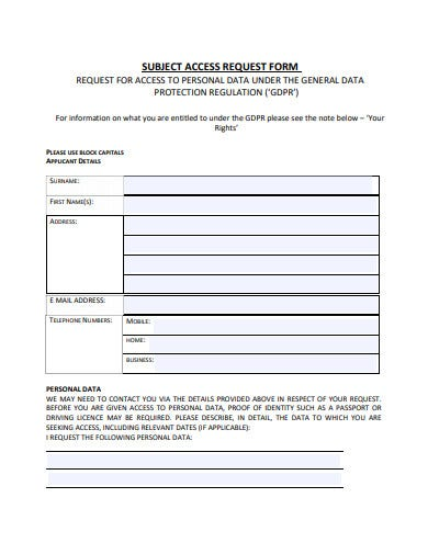 basic subject access request form
