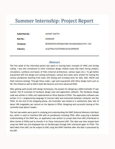 basic summer internship project report template