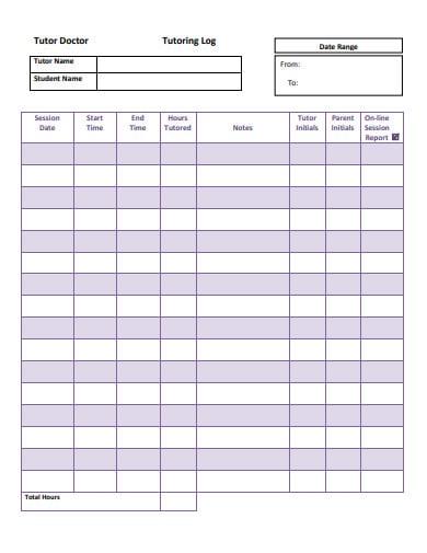 basic tutoring log sheet template