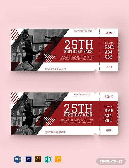 basketball birthday ticket template 2