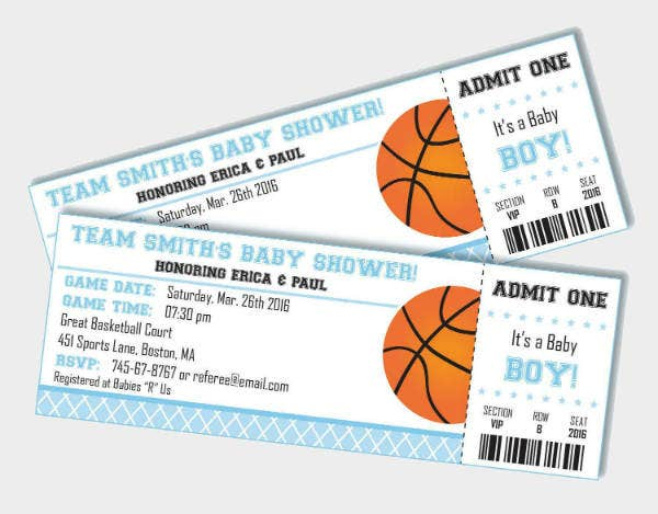 basketball ticket baby shower invitation