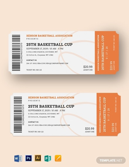 basketball ticket template
