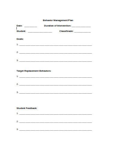 behavior management plan in doc