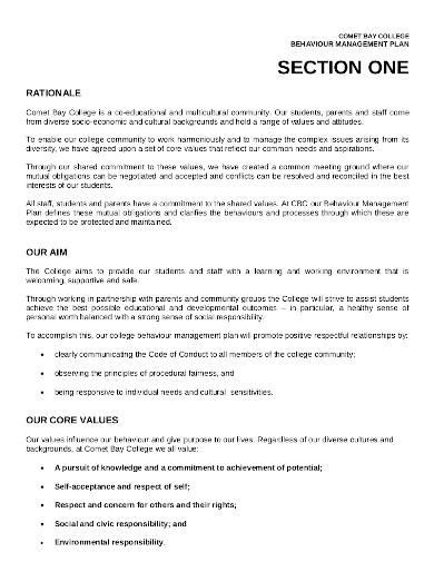 behaviour management plan format in pdf