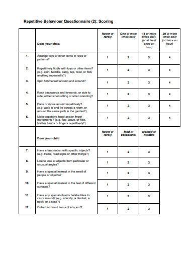 behaviour questionnaire example