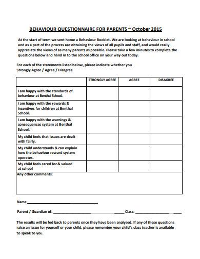 behaviour questionnaire for parents