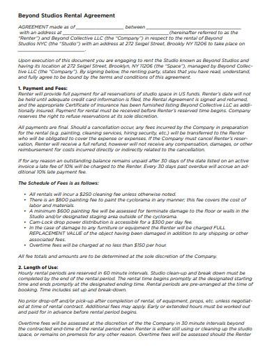 beyond studios rental agreement template