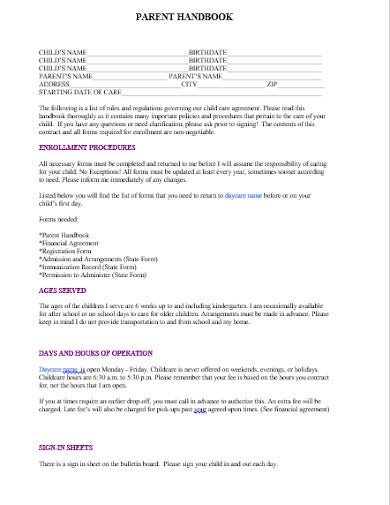 blank parent handbook template