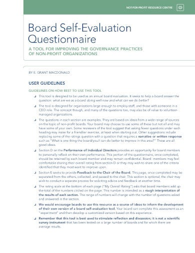board self evaluation questionnaire template