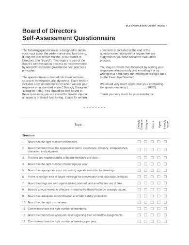 board of directors self assessment questionnaire