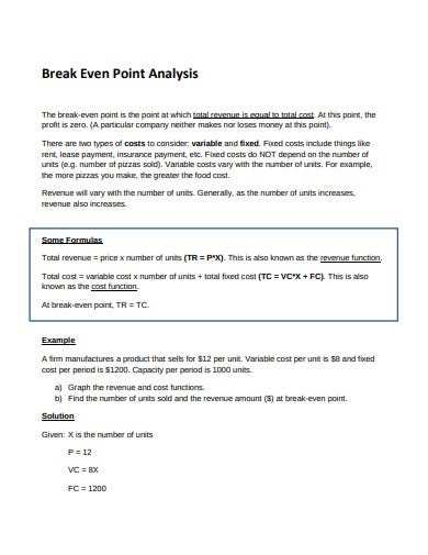 break even point analysis template