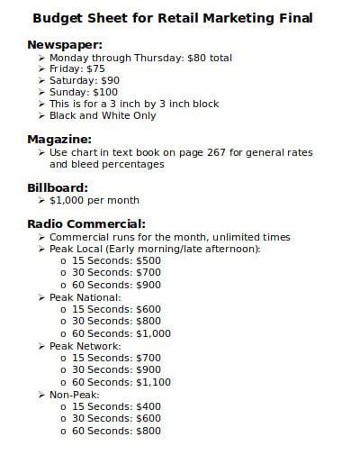 budget sheet for retail marketing final template
