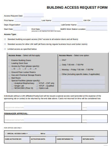 building access request form template