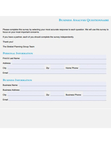 business analysis questionnaire template
