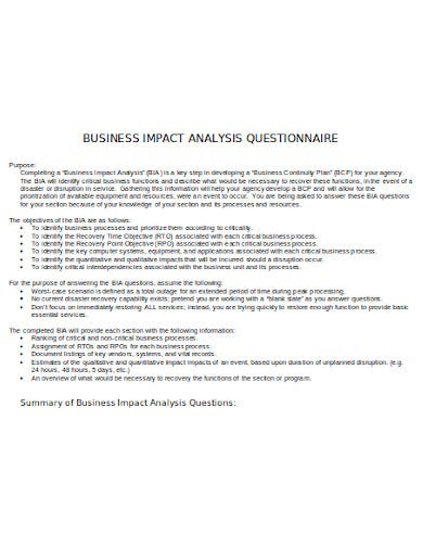 business impact analysis questionnaire template