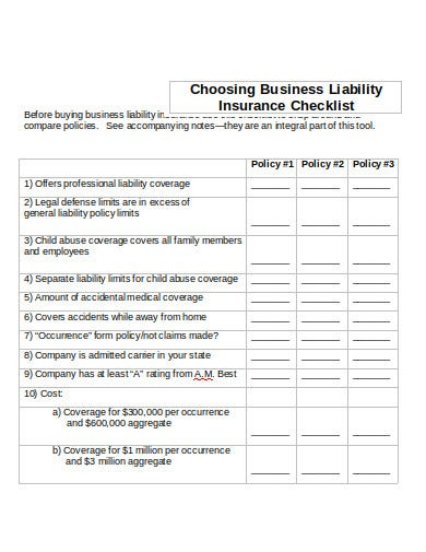 business liability insurance checklist