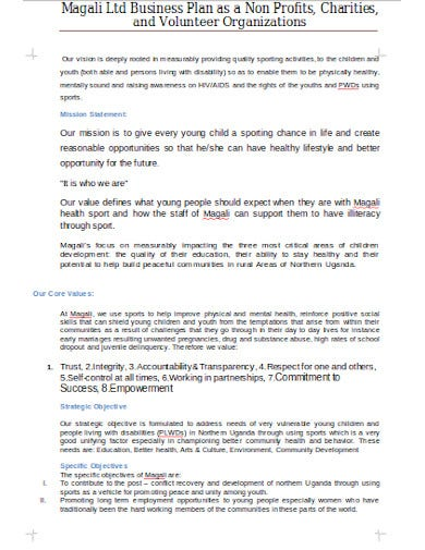 business plan for charities template
