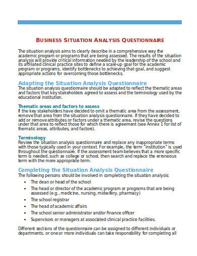 business situation analysis questionnaire template
