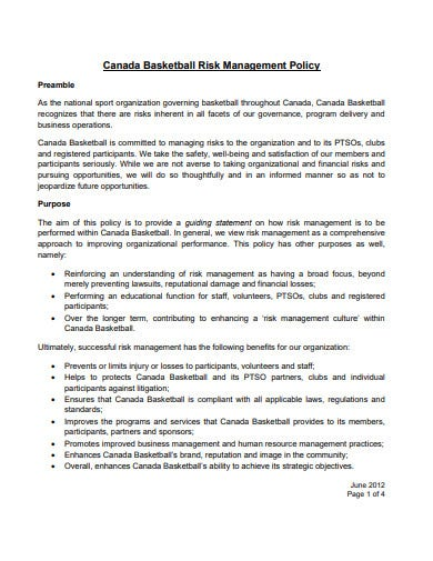 9 Charity Risk Management Policy Templates In Pdf Doc Free Premium Templates