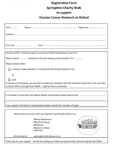 cancer research charity walk registration form