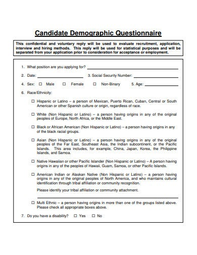 candidate demographic questionnaire template