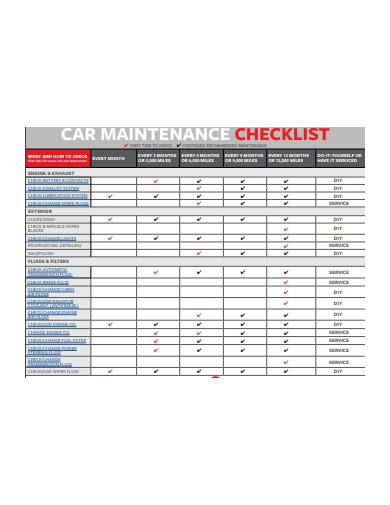 car maintenance checklist example