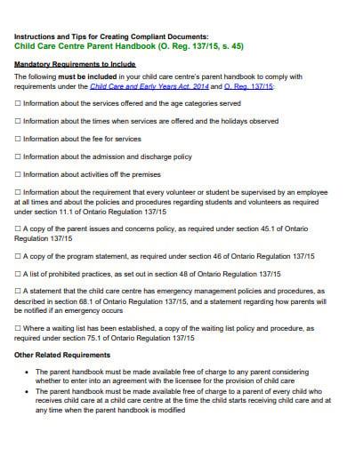 care centre parent handbook template