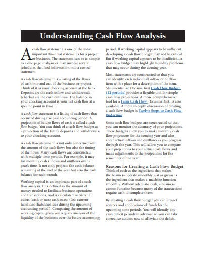 cash flow statement analysis template