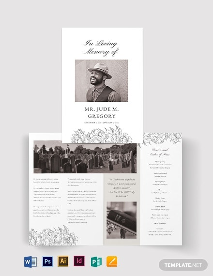 ceremony cremation funeral bi fold brochure template