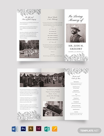 ceremony cremation funeral tri fold brochure