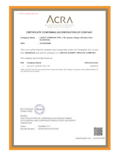 certificate confirming incorporation of company