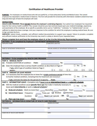 certification of health care provider template