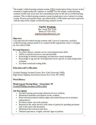 certified nussing assistant resume template