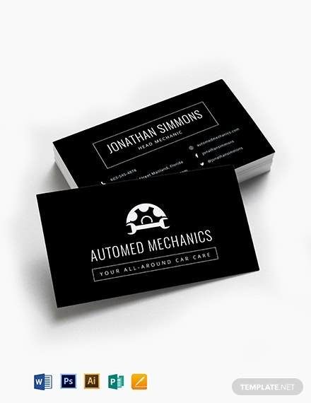 chalkboard auto repair business card template