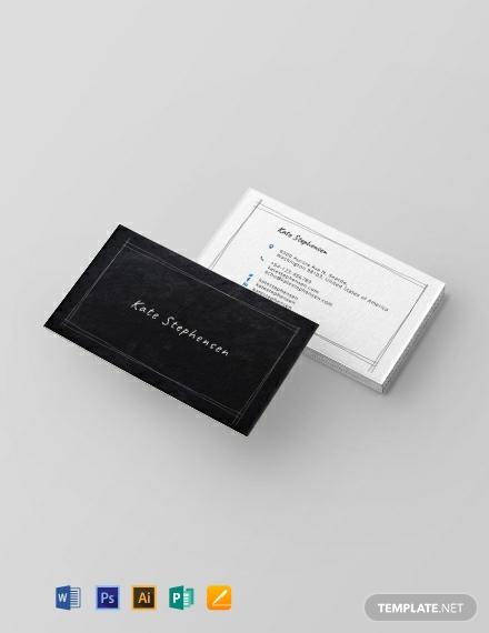 chalkboard teacher business card template