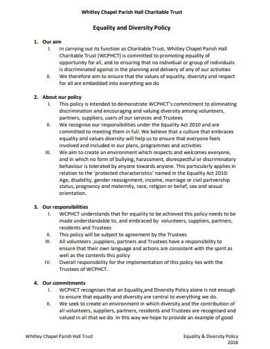 charitable trust equality and diversity policy