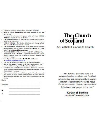 charity church service order