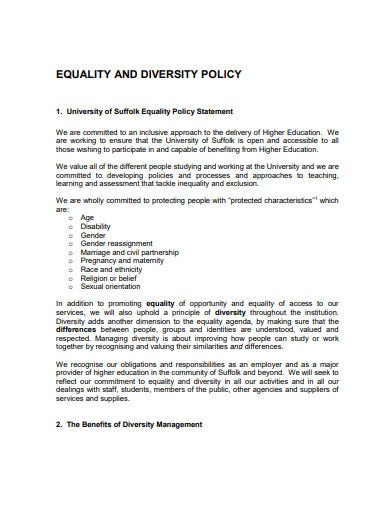 charity diversity equality policy statement