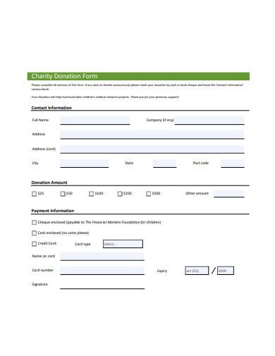 Charity Donation Form Templates In Pdf