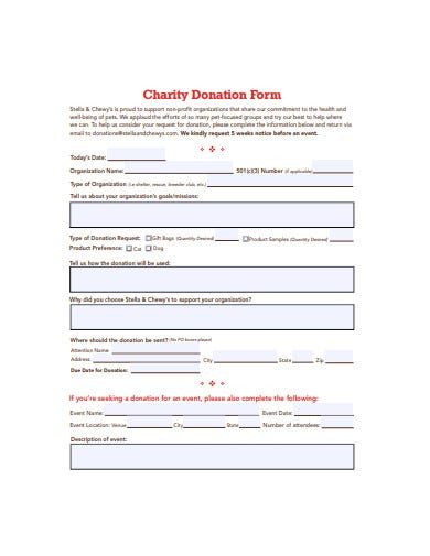 charity donation form template1