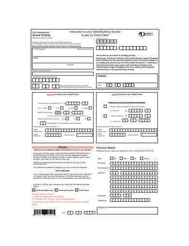 charity donation form in pdf