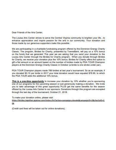 charity donation letter format