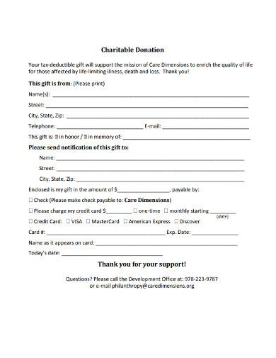 charity donation printable thank you