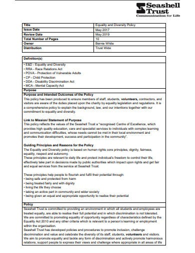 charity equality and diversity policy template