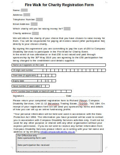 charity fire walk registration form