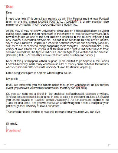charity fundraising letter example