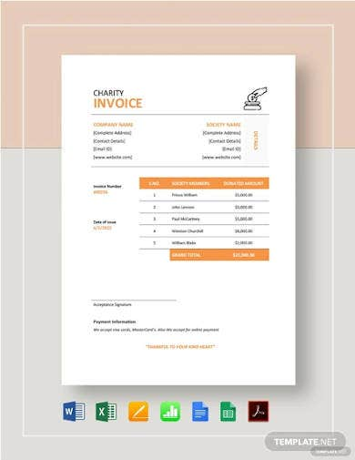 charity invoice template1