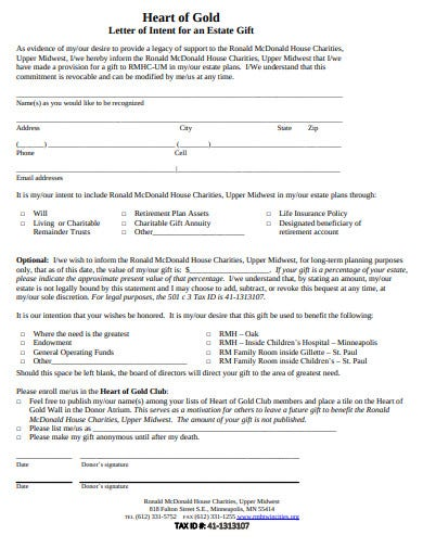 charity letter of intent for an estate gift template